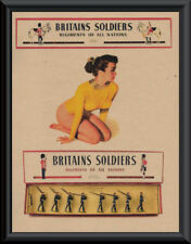 Vintage Brtains Toy Soldiers Pin Up Girl Poster Reprint On 1950s Paper *P068