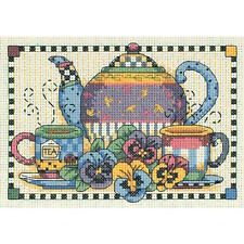 Dimensions Needlecrafts Teatime Pansies Mini Counted Cross Stitch Kit