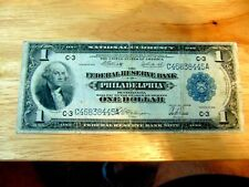1918 $1 LARGE NATIONAL CURRENCY PHILADELPHIA BANK NOTE FINE