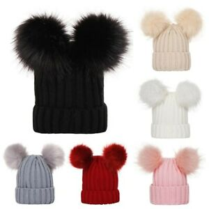 Mother Kid Winter Hats for Baby Girl Boy Cap Double Ball Hat Kids Pom Pom Beanie