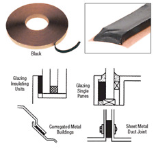 "CRL Black 1/16"" x 3/8"" Butyl Architectural Glazing Tape - GT104"