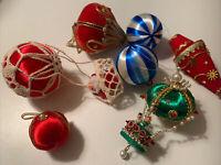 VINTAGE Christmas Tree Satin Jeweled Beaded Sequined Flocked Ornaments Lot 7