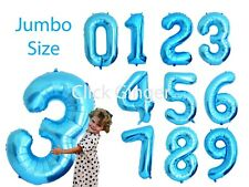 Jumbo Blue Foil Number Balloons Numbered Balloon Age 21st, 1st Brithday 40""