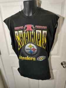 VTG 1995 AFC CHAMPS Steelers Super Bowl XXX Sleeveless TShirt SZ XL Made USA