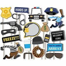 Party Supplies Cops And Robbers Police Photo Booth Props Kit 20 Pack Camera