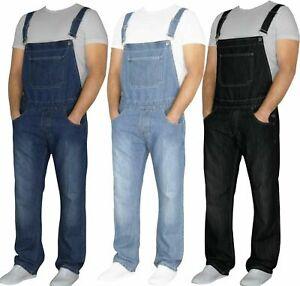 "Mens Dungaree Denim Overalls Jeans Brace Work Big King All Waists 30"" - 46"" New"