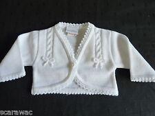 de punto bebé BOLERO/cardigan blanco / Lazo recién nacido, 0-3, 3-6, 6-12,