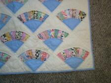 """Antique Fan Quilt Hand stitched Patchwork 1930's Calicos 70.5"""" x 85"""" Stunning!"""