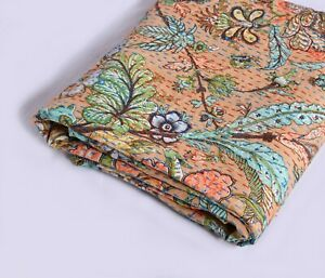 Kantha Quilt Cotton Twin Size Indian Handmade Floral Throw Vintage Bedspread
