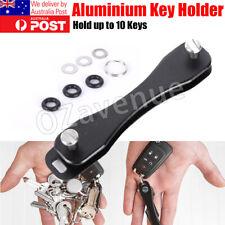 10 Key Smart Compact Key Holder Organiser Pocket Size Ring Aluminium (BLACK)
