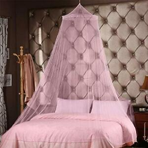 Princess Round Hoop Lace Mosquito Netting Fit Crib Twin Full for Home Pink