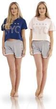 Ladies Cute NYC Crop Top Shorts Pyjama Set PJ'S Short Pyjamas