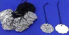 Lot 100 LG Ornate Elegant Black & White Merchandise Price Tags with String  NEW