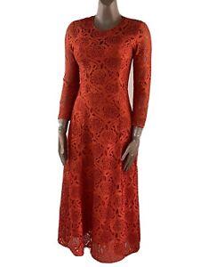 IVY & OAK Burnt Orange Lace Long Sleeve Midi Dress Size 8