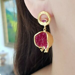 Pomegranate earrings. Deep red dangle earrings. Handmade 22K gold plated brass