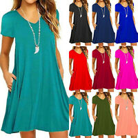 Women Short Sleeve Loose Casual Stretch Pockets Jersey T Shirt Swing Plain Dress