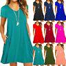 Womens V-Neck Short Sleeve Loose Baggy Stretchy Pockets Jersey Mini Swing Dress