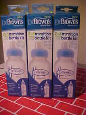 Lot of 3 Dr. Brown's Options 2-in-1 Transition Bottle Kits Natural Flow NEW