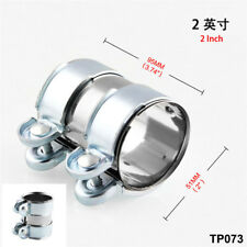 "2"" Silver Stainless Steel Motorcycle Bikes Turbo Exhaust Muffler Pipe Band Clamp"