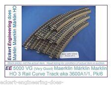 EE 5000 VG Marklin HO 3R 3 Rail Curve Track Pk6 3600A1/1 Standard Curv Very Good