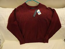PERRY ELLIS Chianti Red Marled-Block Men's Large Crew Neck Knit Sweater $69 NWT