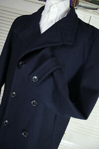 Burtons Mens Navy Wool Pea Coat SIZE: XL Full Measurements in Description