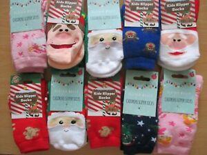 Childrens Christmas Slipper Socks, Choice of Size & Design Boys Girls Xmas Socks