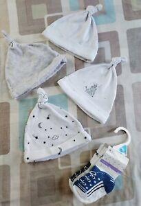 4x Next Baby Hats Size 0 - 6 Months & BNWT Nutmeg Socks