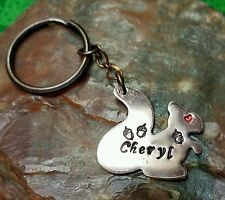 Personalized Squirrel with Acorns Hand-Stamped Copper Key Ring