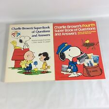Charlie Browns Super Book of Questions and Answers AND 4th Book Pair  VTG 1976