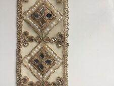 India rosa oro diamantes atractiva con espejos en tela del ajuste/Encaje -1 Metro