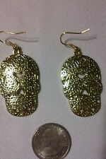 "Skull Earrings Gold Finish 1 1/2"" Long French Earwires Metal Dangle Skulls"