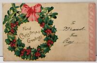 Fond Christmas Greetings Pretty Wreath 1906 Keedysville Md Postcard E15