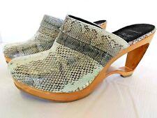 Women Mule Heels Size 9 Genuine Watersnake Handcrafted Light Teal Green