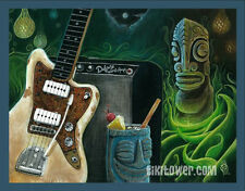 Marquesan Surf Guitar Tiki Art Cocktail Lowbrow Pop Polynesian Tiki Bar Print