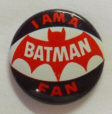 VINTAGE! 1966 Creative House Batman Pinback Button Pin-I am a Batman Fan-C1