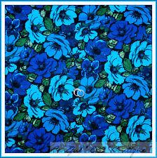 BonEful Fabric Cotton Quilt Blue Black Aqua Green Leaf Beach Flower Hippie SCRAP