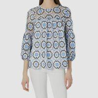 $349 Monique Lhuillier Women's Blue White 3/4-Sleeve Lace Blouse Top Size S