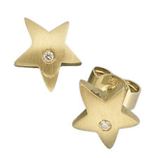 Damen Ohrstecker Stern 585 Gold Gelbgold matt 2 Diamanten Brillanten Ohrringe.