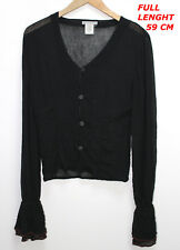 SARAH PACINI BLACK COLOR LADIES WOMAN TOP BLOUSE MARKED SIZE 2 LONG SLEEVE SEE
