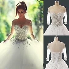 2017 Princess Sheer Long Sleeve Pearls Wedding Dresses Ball Gown Lace Up 6-18 j8