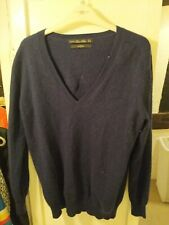 Supersoft Navy Cashmere V Neck Jumper Size M 12 - 14 ZARA Knit