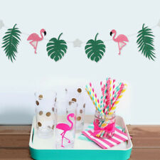 Flamingo Palm Leaves Garland Banner Decor Birthday Party Wedding Supplies 1Set