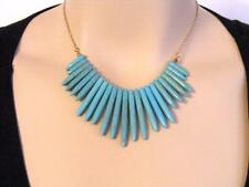 """$18 Carole Crackled Marbled Blue Howlite Turquoise Spike Beaded Necklace 18"""""""