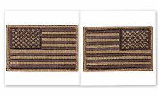 USA AMERICAN FLAG TACTICAL PATCH Set of 2 US ARMY BADGE Coyote HOOK & LOOP