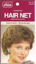 d best Invisible very thin handmade hair net no elastic mesh regular size black