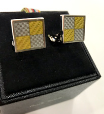 Paul Smith CARBON FIBRE CHECK Cufflinks Signature Embossed T bar Swing Fastening