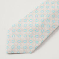 New $295 KITON NAPOLI 7-Fold Beige and Blue Interlocking Print Twill Silk Tie