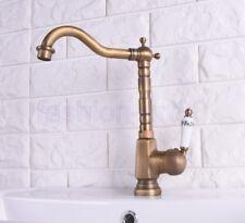 Vintage Antique Brass Swivel Kitchen Sink Bathroom Basin Mixer Tap Faucet fsf114