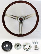 "Low Gloss Wood Steering Wheel to fit Ididit Flaming River Column 15"" Red/Blk cap"
